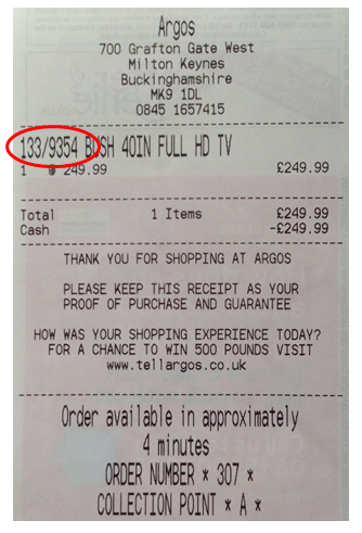 tv serial number on receipt