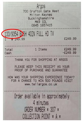 Argos till receipt