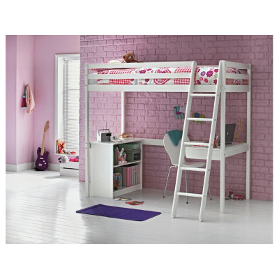 Wooden Single High Sleeper Bed Frame With Storage