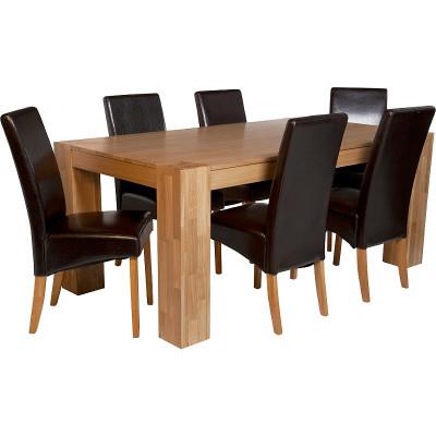 Heart Of House Alston Oak Veneer Table 6 Chairs