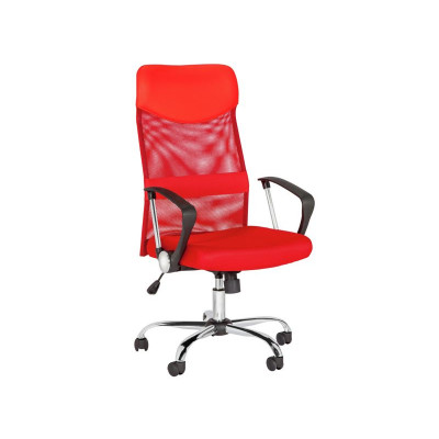 high back mesh office chair with leather effect headrest. mesh \u0026 leather effect headrest adjustable office chair -red high back with k