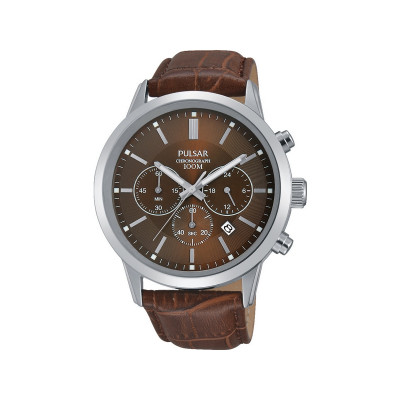 argos product support for pulsar men s chronograph bracelet watch pulsar mens brown strap chronograph watch