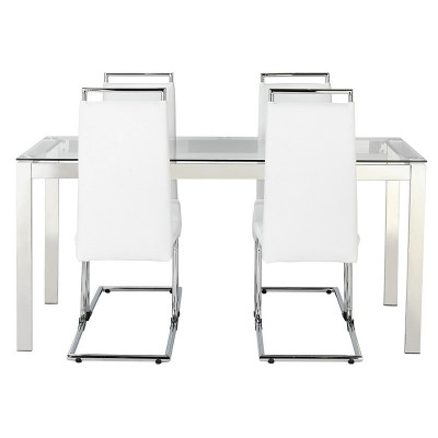 hygena apollo glass dining table and 4 chairs white