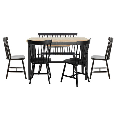 hygena luna extendable dining table 1 bench and 4 chairs